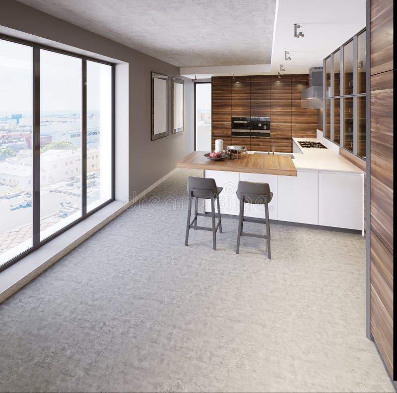 Uma cozinha com uma ilha de cozinha com duas cadeiras em uma cozinha moderna, o estilo da mobília contemporânea e moderna da cozi ilustração royalty free
