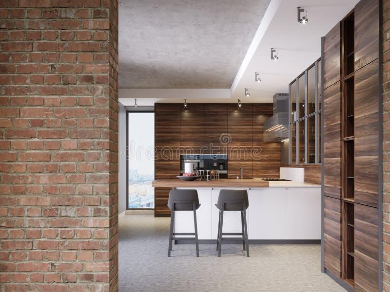 Uma cozinha com uma ilha de cozinha com duas cadeiras em uma cozinha moderna, o estilo da mobília contemporânea e moderna da cozi ilustração do vetor