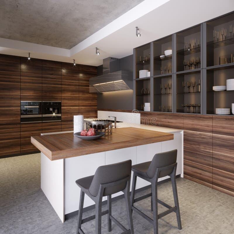 Uma cozinha com uma ilha de cozinha com duas cadeiras em uma cozinha moderna, o estilo do koteemporri e mobília moderna da cozinh ilustração stock