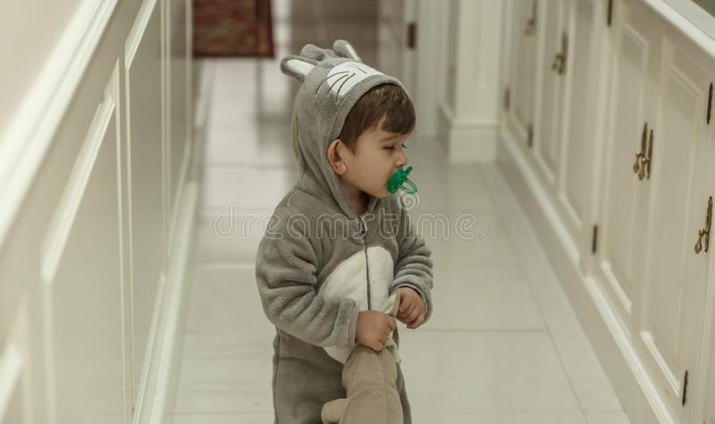 Uma criança bonito com pijamas muito engraçados e uma chupeta, vai abaixo do salão com um coelho foto de stock