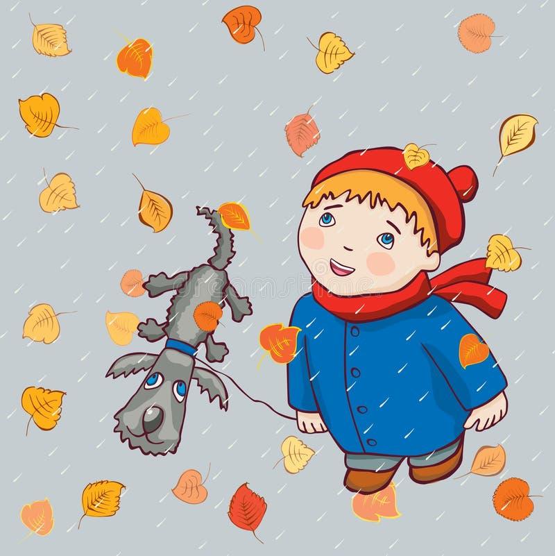 Uma criança com seu cão dá uma volta sob a chuva do outono ilustração do vetor