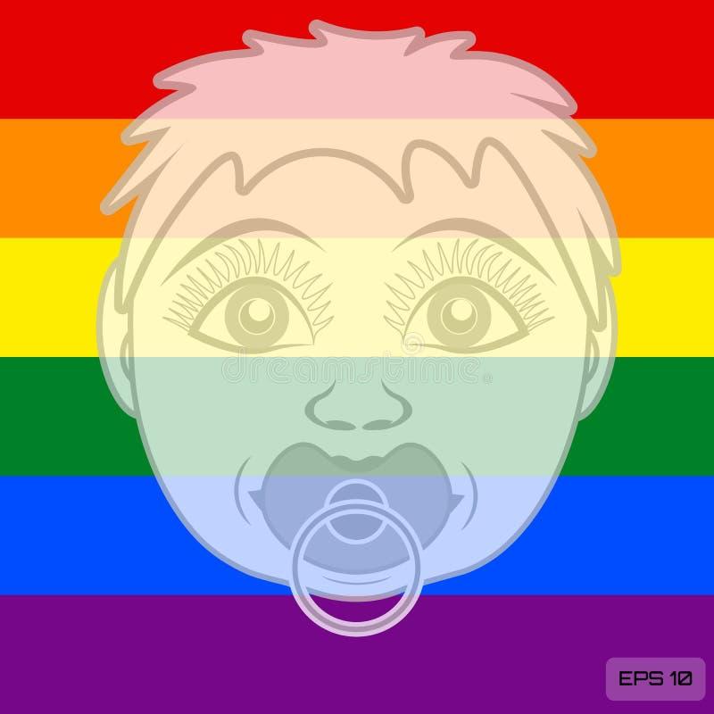 Uma criança da família de LGBT Cabeça da criança na perspectiva das cores da bandeira do arco-íris ilustração do vetor