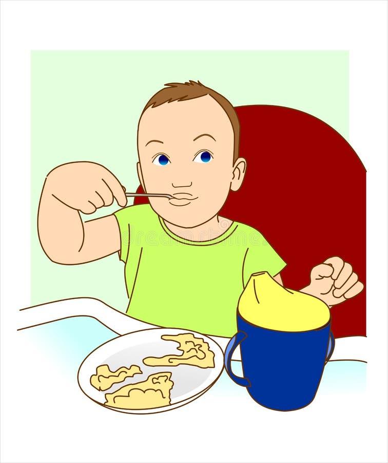 Uma criança pequena come com uma colher ilustração stock