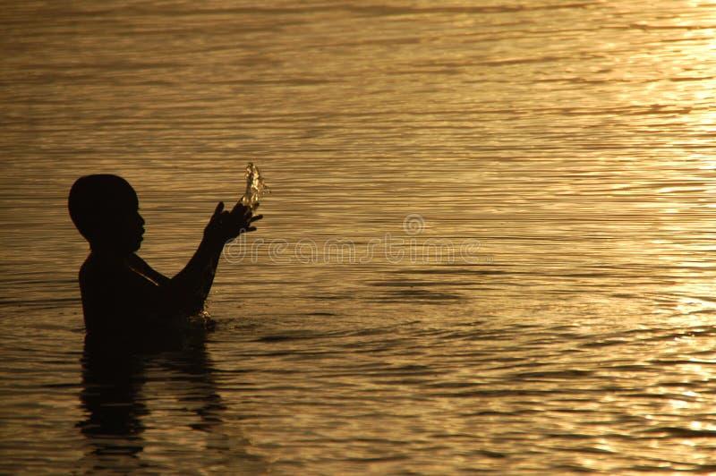 Uma criança que aprecia o mar durante o por do sol fotografia de stock royalty free