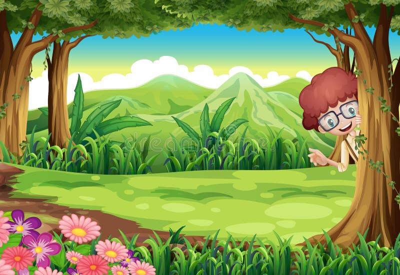 Uma criança que esconde na árvore dentro da floresta ilustração royalty free
