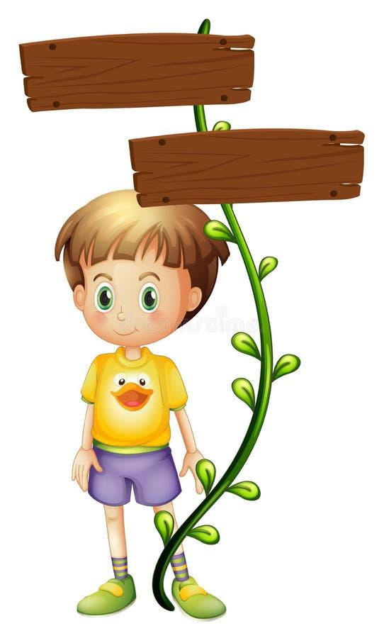 Uma criança que está na parte traseira de um quadro indicador ilustração stock