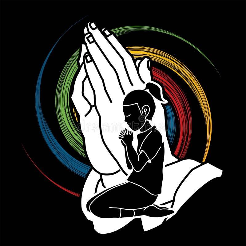 Uma criança que reza ao deus, um gráfico dos desenhos animados da oração da menina ilustração stock