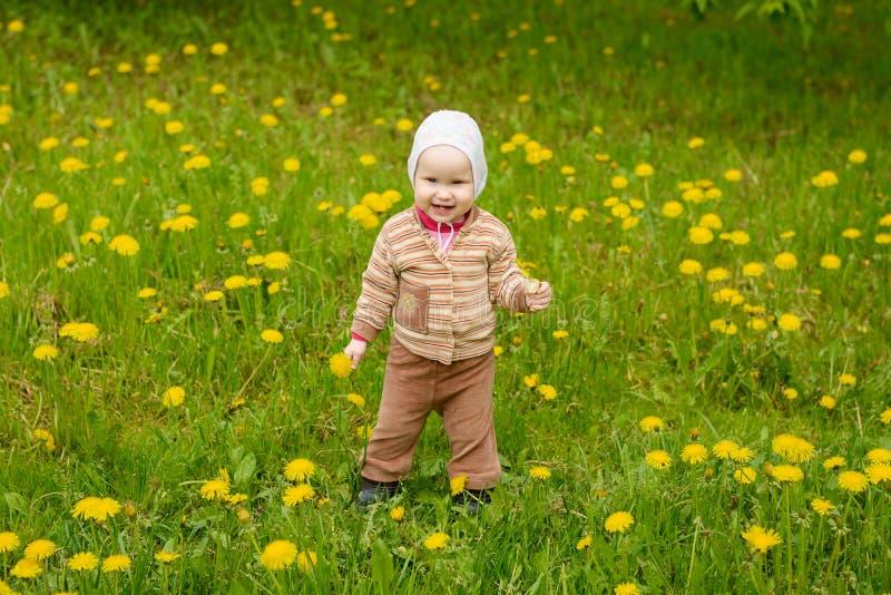 Uma criança ri entre um campo de dentes-de-leão amarelos fotografia de stock