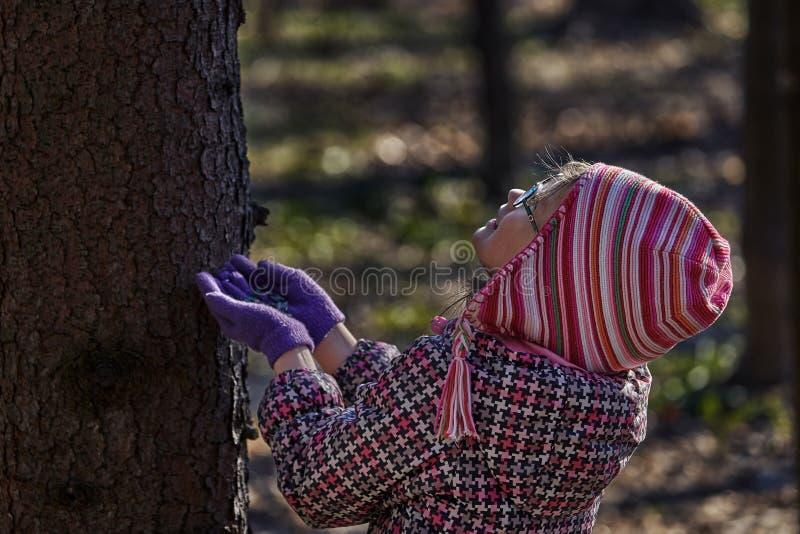 Uma crian?a da menina em um revestimento e em um chap?u vermelhos quer alimentar as sementes de girassol do esquilo fotos de stock royalty free