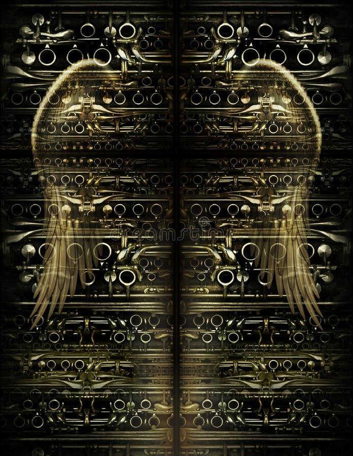 Uma cruz e um Angel Wings contra um projeto feito das peças do clarinete ilustração stock