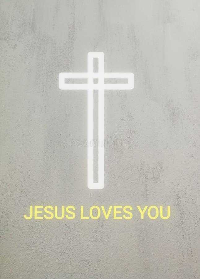 Uma cruz e um texto brancos Jesus amam-no ilustração do vetor