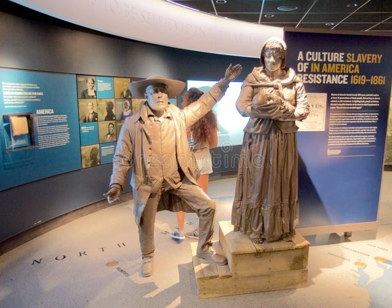 Uma cultura da escravidão na exibição de América dentro do museu nacional dos direitos civis em Lorraine Motel imagem de stock