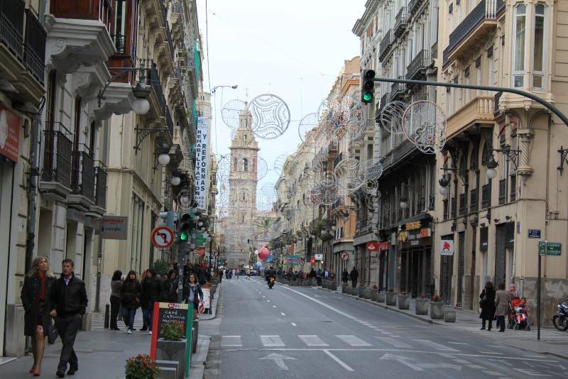 Uma da rua principal em Valência imagens de stock royalty free