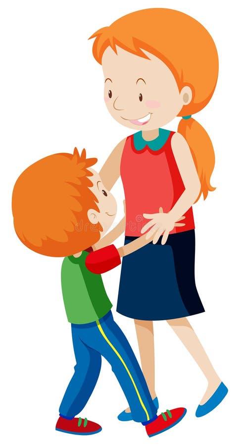 Uma dança da mamã e do filho ilustração royalty free