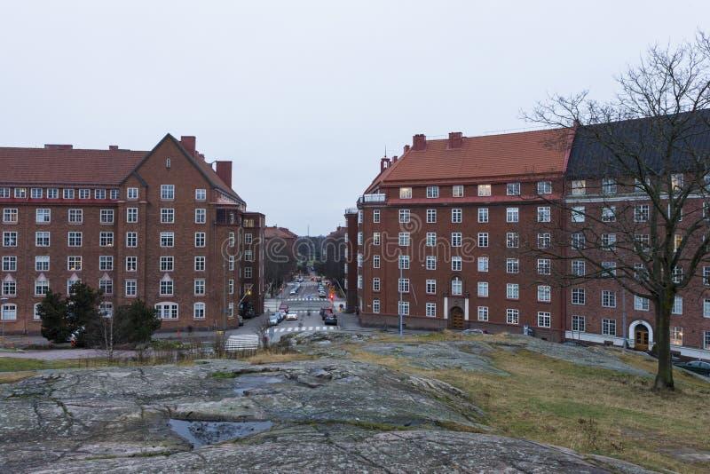 Uma das ruas de Helsínquia fotos de stock royalty free