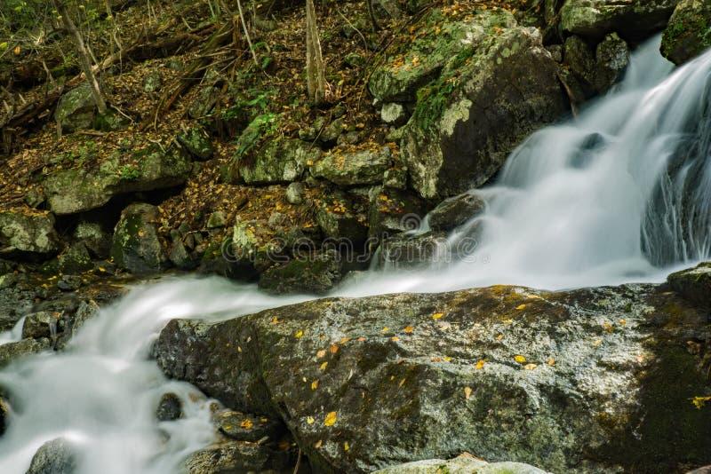 Uma de muitas cachoeiras de conexão em cascata pela fuga das quedas de Crabtree fotografia de stock royalty free