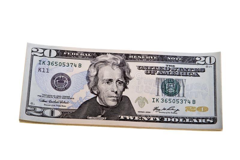 Uma denominação de vinte dólares isolada em um branco imagem de stock royalty free