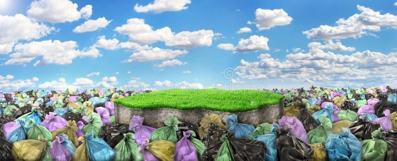 Uma descarga de lixo com uma parte de terra na ilustração stock
