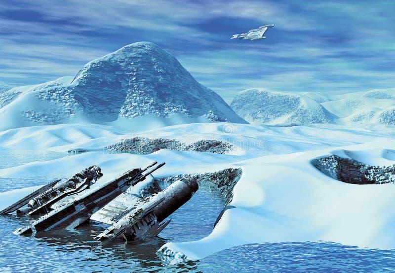 Uma destruição da nave espacial ilustração royalty free