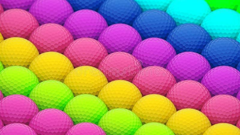 Uma disposição vibrante enorme de bolas de golfe coloridas ilustração do vetor