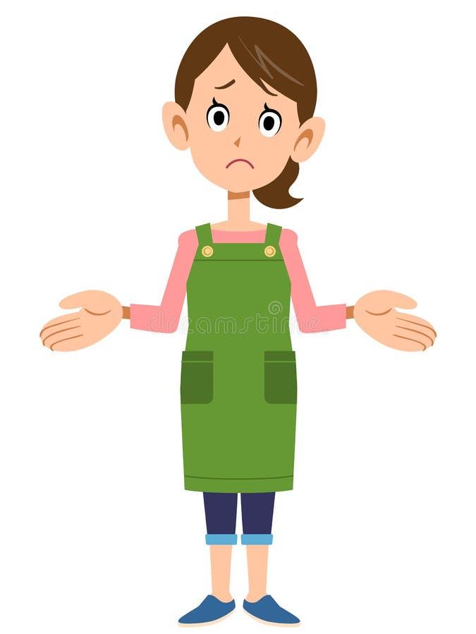 Uma dona de casa shrugging ombros ilustração royalty free