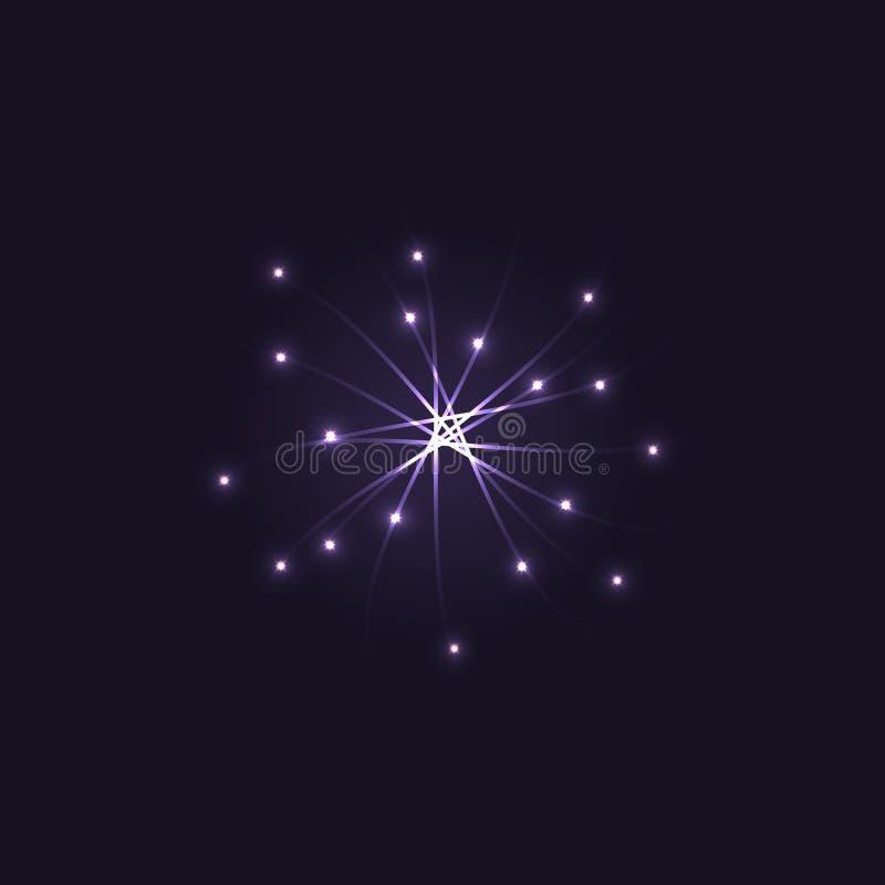 Uma efervescência abstrata de prata e uma estrela de brilho cercadas por estrelas de brilho pequenas Molde do logotipo do vetor ilustração royalty free