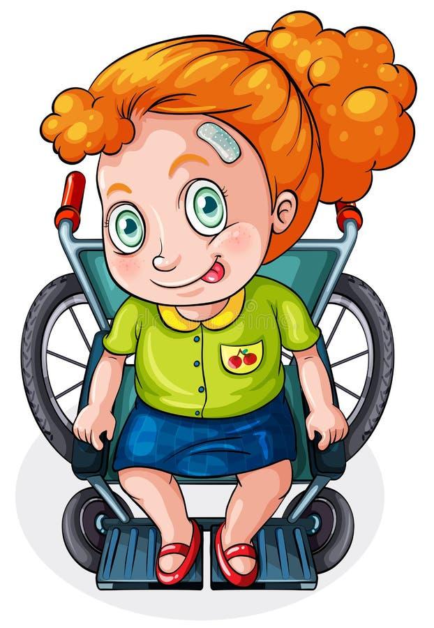 Uma equitação caucasiano da senhora em uma cadeira de rodas ilustração do vetor