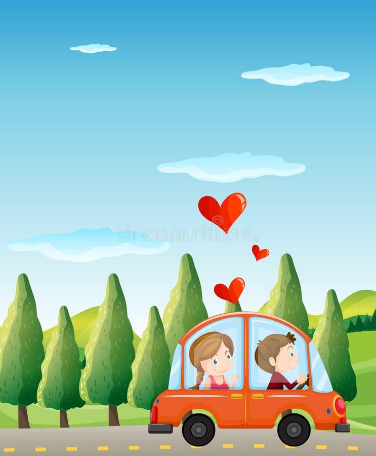 Uma equitação dos pares em um carro ilustração do vetor