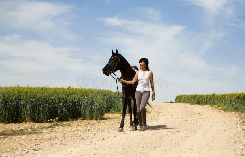 Uma equitação fêmea em um cavalo preto fotografia de stock royalty free