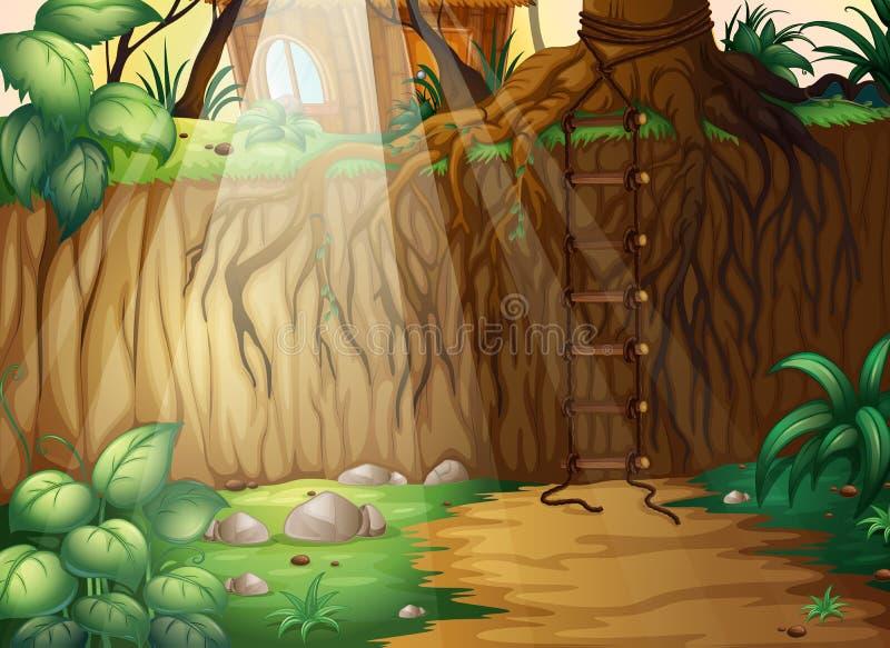 Uma escada amarrado na selva ilustração stock