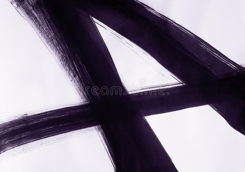 Uma escova tirada em linha reta tr?s linhas de cruzamento e para formar o n?mero quatro ilustração royalty free