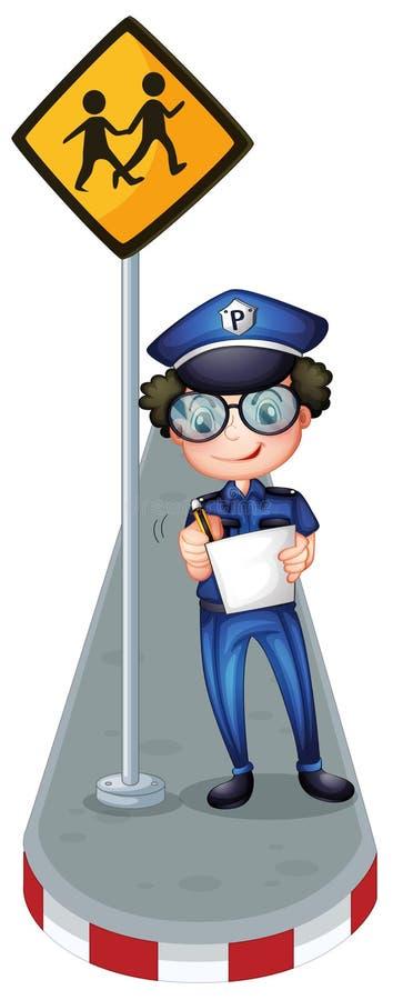Uma escrita do polícia com um signage amarelo ilustração do vetor