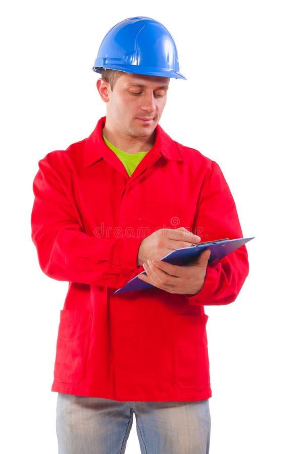 Uma escrita nova do contratante na prancheta isolada no backgr branco foto de stock