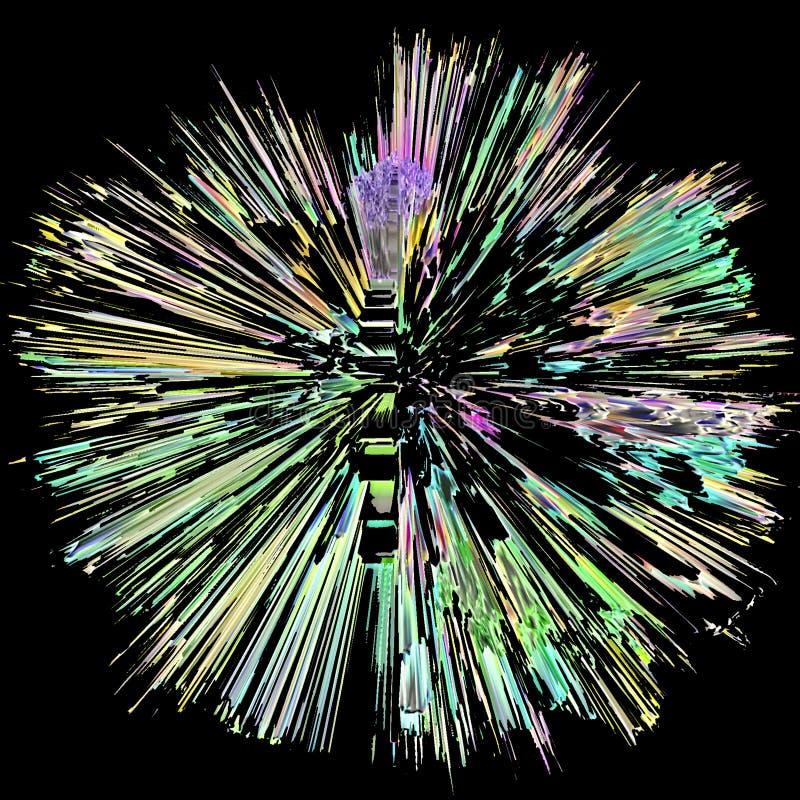 Uma esfera sob a forma de uma explosão que emana do núcleo que irradia para fora foto de stock