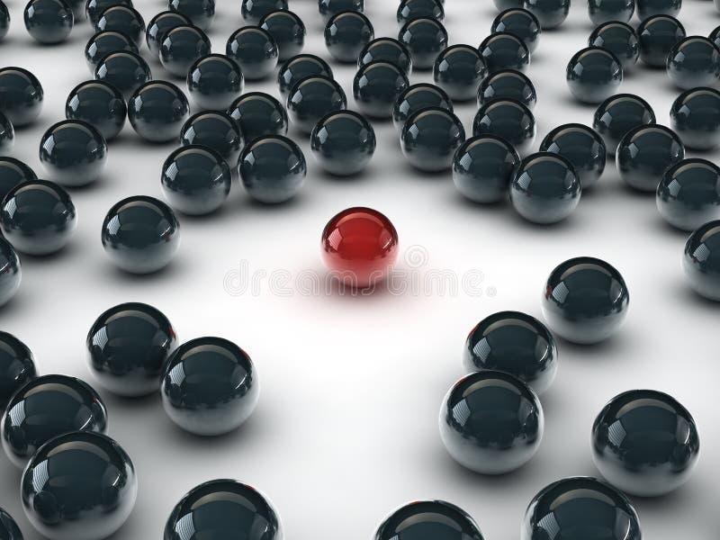 Uma esfera vermelha original, entre o outro preto ilustração do vetor