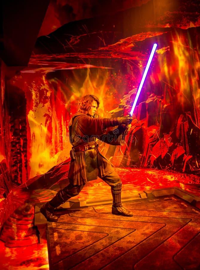 Uma estátua da cera de Anakin Skywalker do episódio VI de Star Wars no museu da senhora Tussaud em Londres imagem de stock
