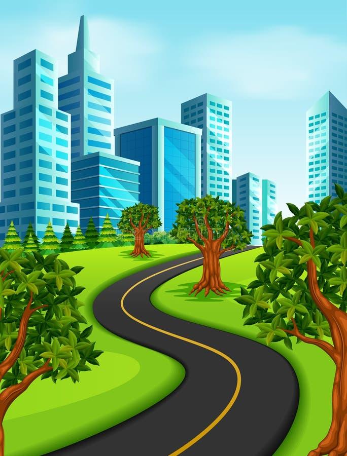 uma estrada à cidade ilustração royalty free