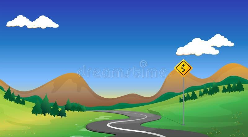 Uma estrada com um signage amarelo ilustração stock