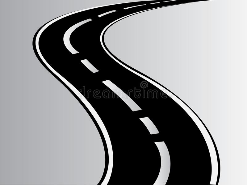 Uma estrada curvy da estrada do asfalto do vetor ilustração stock