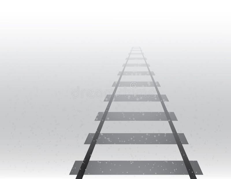 Uma estrada da trilha do trem para a grande distância de viagem no tempo nevoento e nevado na ilustração do vetor da estação do i ilustração stock