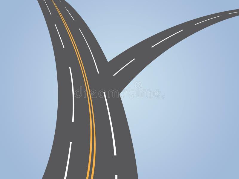 Uma estrada em dois sentidos do asfalto onde estrada de conexão pequena com pista principal ilustração royalty free