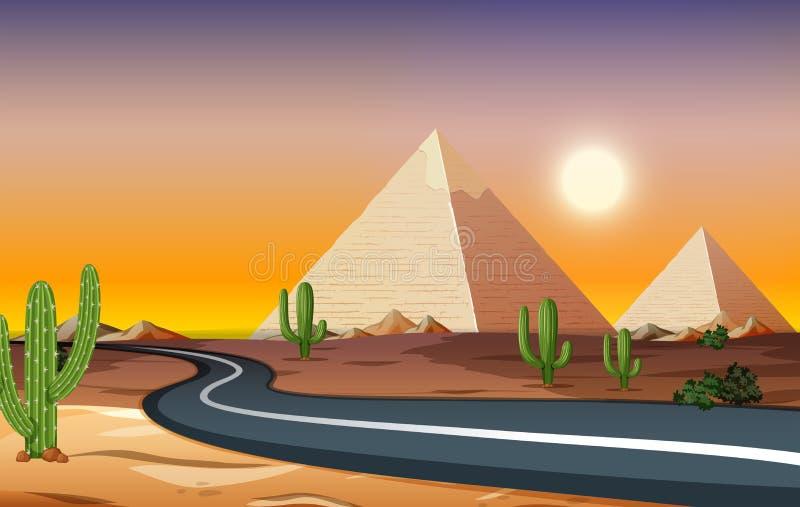 Uma estrada na noite do deserto ilustração do vetor