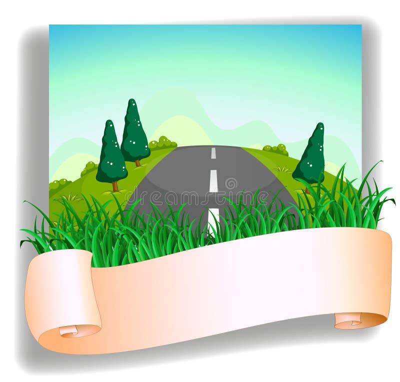 Uma estrada na parte traseira do signage ilustração do vetor