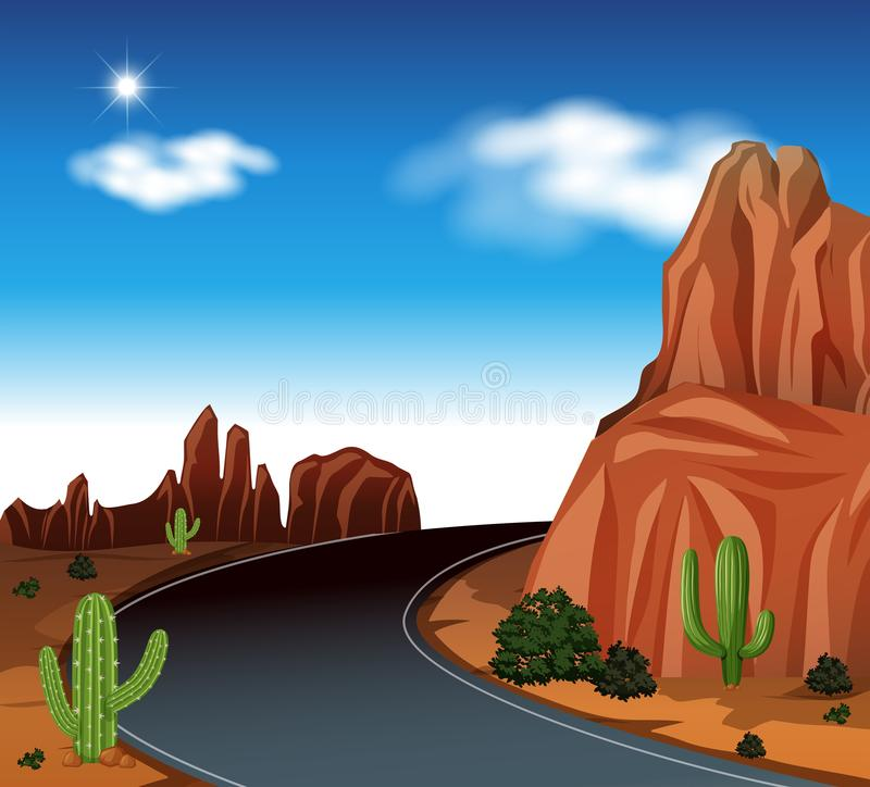 Uma estrada no deserto ilustração do vetor