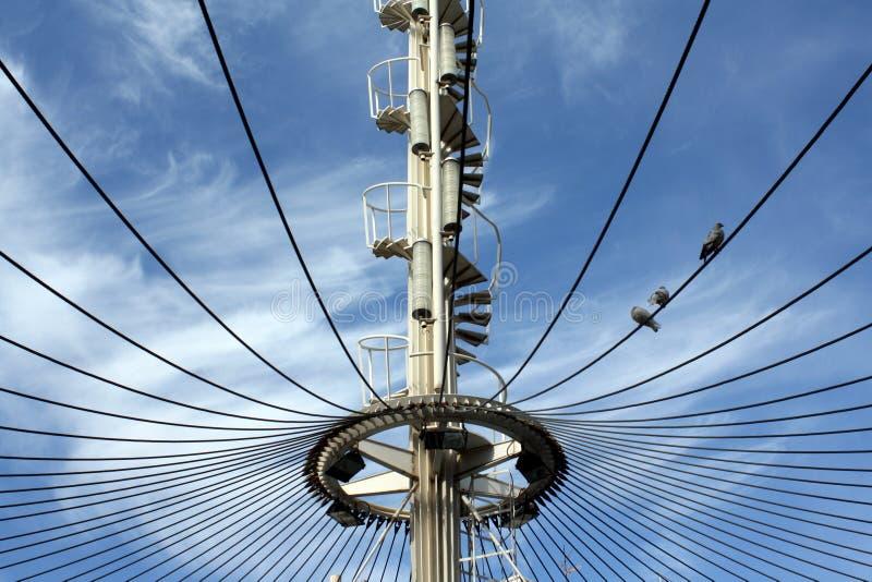 Uma estrutura cabo-ficada com uma escadaria espiral e três pombos em um cabo de fio fotos de stock