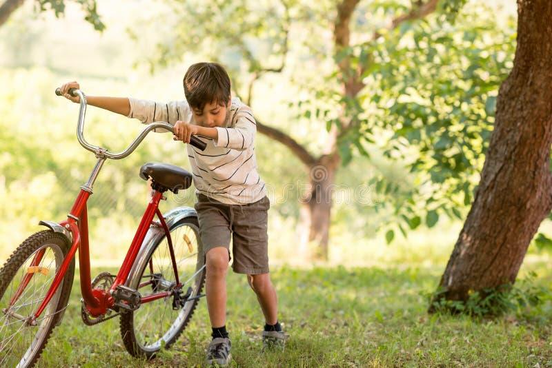 Uma estudante é satisfeito com uma bicicleta vermelha na floresta ou no garde foto de stock