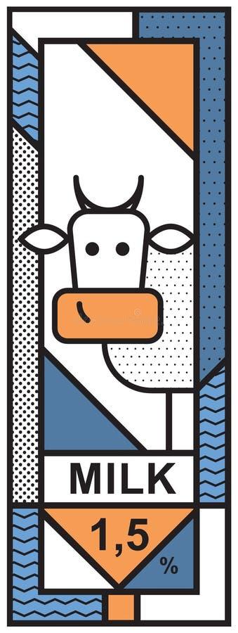 Uma etiqueta com uma imagem de uma vaca para o empacotamento de leite ilustração stock