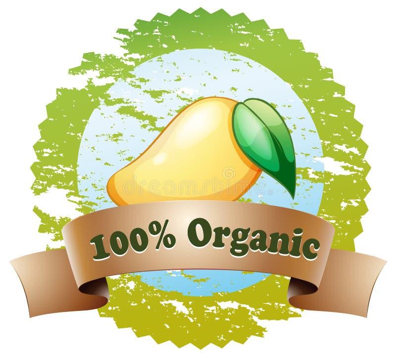 Uma etiqueta orgânica com uma manga madura ilustração do vetor