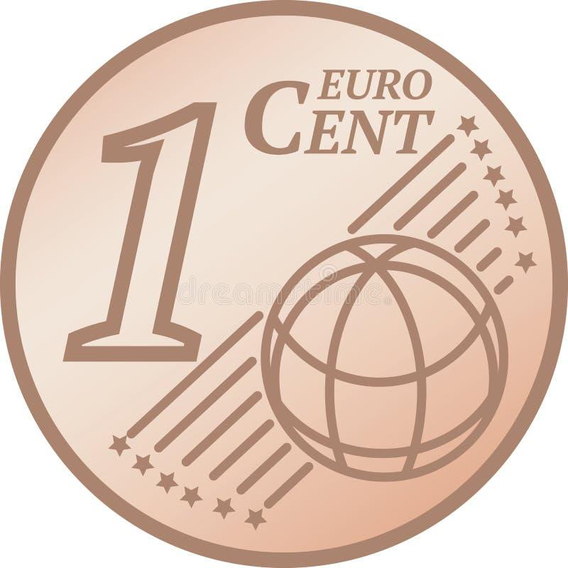 Uma euro- moeda do centavo ilustração do vetor