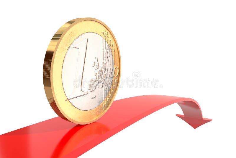 Uma euro- moeda na seta vermelha para baixo com superfície refletindo no fundo branco ilustração stock